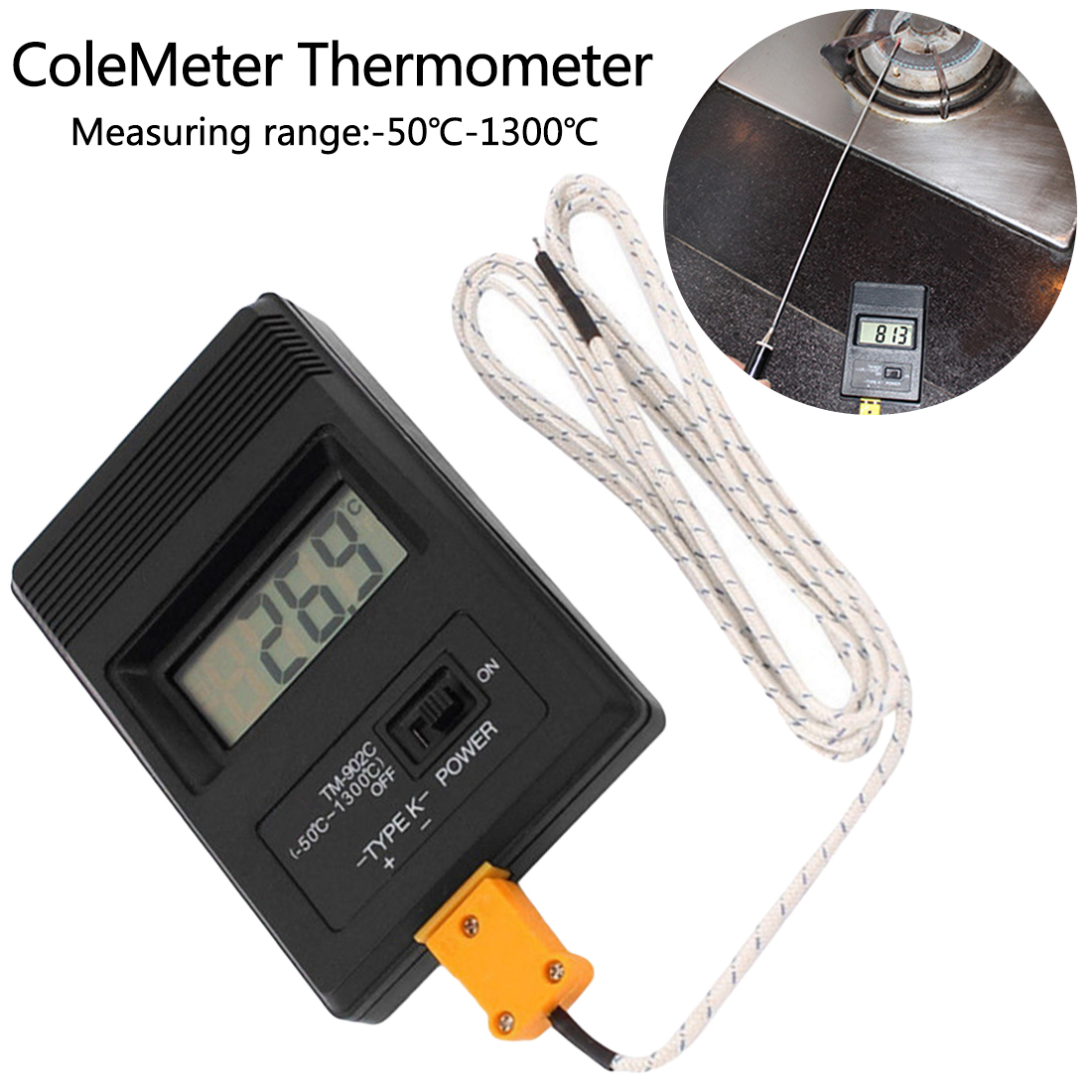 Infrarot <font><b>thermometer</b></font> TM-902C Digital LCD <font><b>K</b></font> Typ <font><b>Thermometer</b></font> mit Thermoelement Sonde Hohe temperatur erkennung image