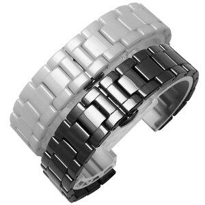 Image 5 - Ремешок для часов из жемчуга и керамики, вогнутый браслет диаметром 16*9 мм, разрешением 20*11 мм, цвет черный/белый