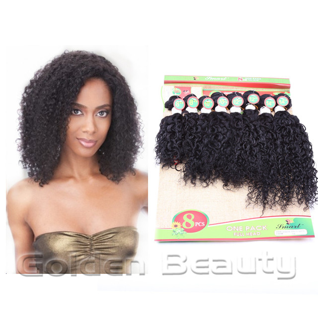 Good Quality 8pcslot Caribbean Jerry Curly Wavy Black Color 8