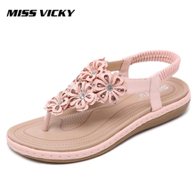 MISS VICKY 2019 New Womens Sandals Bohemian Rhinestone Flowers Comfortable Flat Shoes
