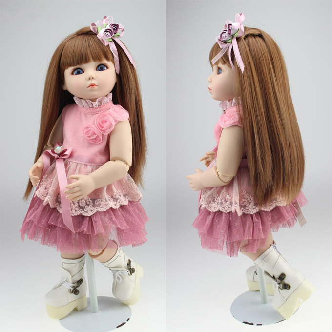 18 45cm  Reborn Babies hard body BJD SD baby doll lifelike joint doll for baby girls 18 45cm hard body bjd sd brown hair blue or brown eyes baby doll lifelike ball joint doll for baby girls