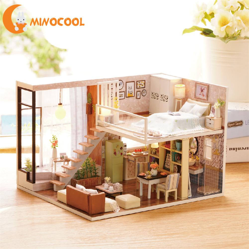 DIY Wooden Doll House Toy Dollhouse Miniature Assemble Kit With Led Furnitures Handcraft Miniature Dollhouse For Children Birth