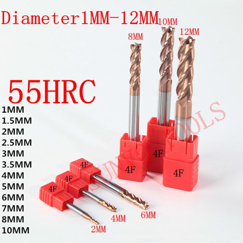 1mm 2mm 3mm 4mm 5mm 6mm 8mm 10mm 2/4 Flutes HRC55 Tungsten Carbide Square Flat End Mills Spiral Bits CNC Endmill Router Bits