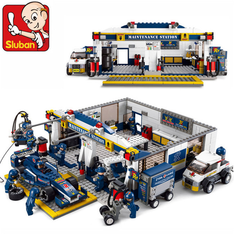 Sluban Building Blocks F1 Racing Kombinasjonsmodell Montering Kompatible Legoinglys Blokker Plast DIY Murstein Leker For Barn
