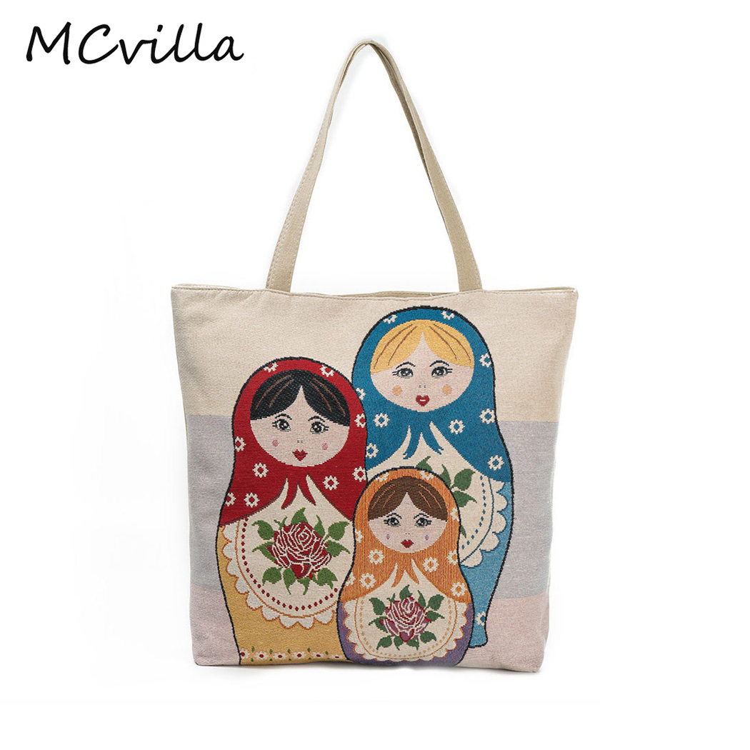 2018 Vintage Summer Doll Printed Embroidery Canvas Shoulder Bag Female Beach Bag Design Ladies Shopping Bag Women
