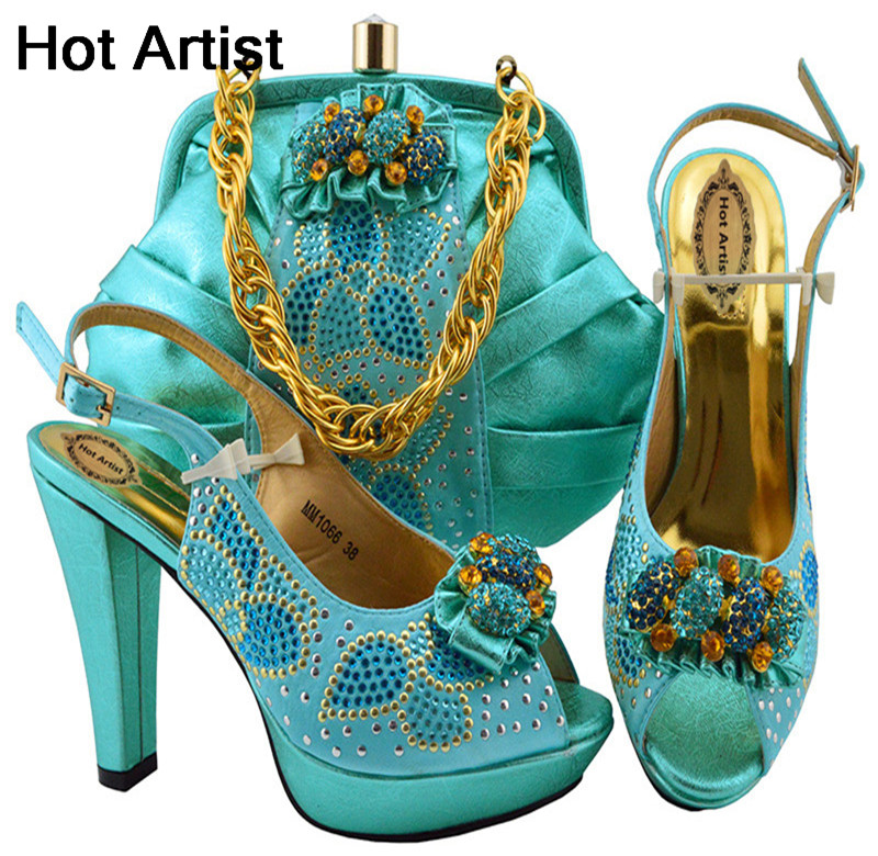 Hot Artist Latest African Ladies Shoes And Bag Set Fashion Decorated With Rhinestone Italian Wedding Shoes And Bag Set MM1066 hot artist shoes and bag set african sets italian shoes with matching bags high quality women shoes and bag to match set mm1055
