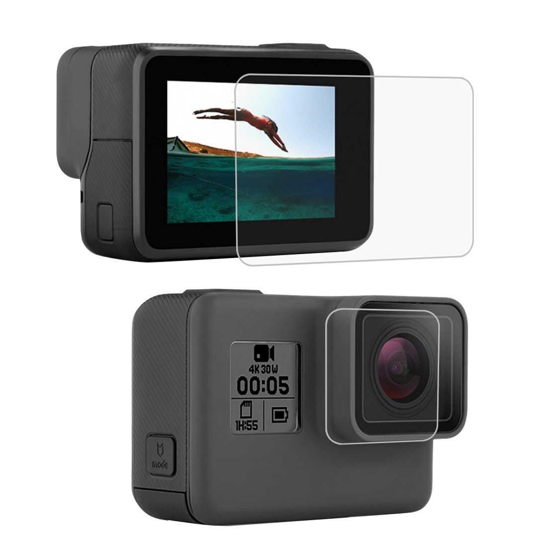 خفف من الزجاج حامي غطاء حالة ل Gopro بطل 5 6 7 عمل كاميرا اكسسوارات حامي الشاشة خفف مع تنظيف القماش