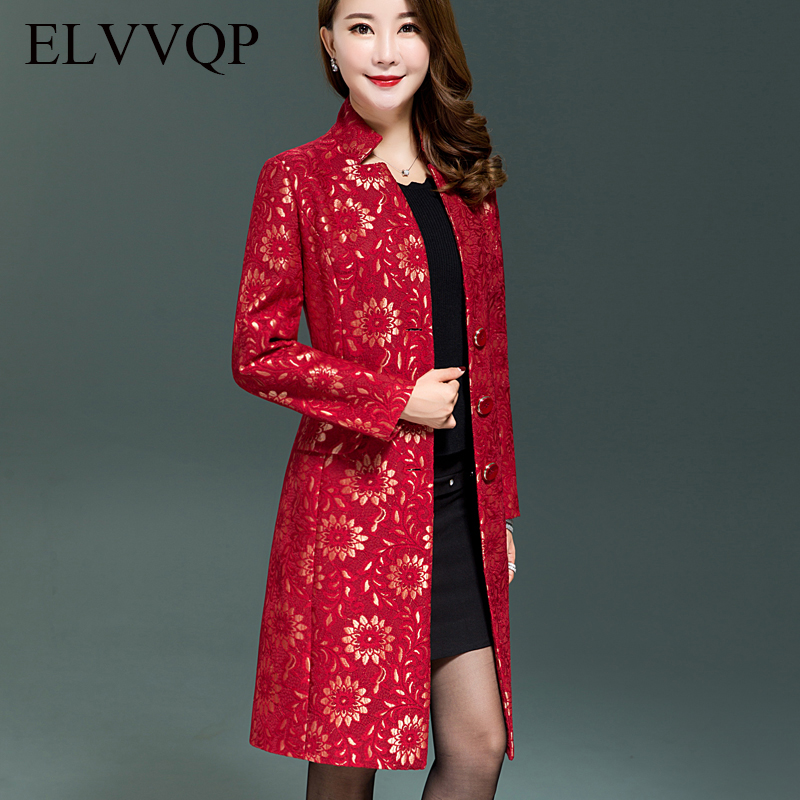 Plus size 5XL Middle-aged mother Spring section Long section coat 2018 Women's fashion High-quality printing   Trench   coat WF072
