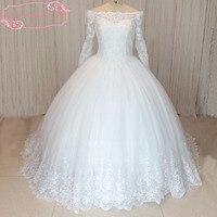 SuperKimJo Long Sleeve Elegant Lace Applique Wedding Dresses 2018 Cheap Beaded Bridal Ball Gowns Robe De