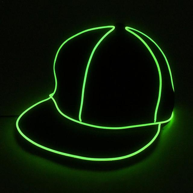 9f7151a03a2 Cool EL Wire Cap Neon LED Light Hats Glow Costume Party Luminous Cap  Fluorescent DJ BAR Dance Performances Carnival Party Props. 1 order