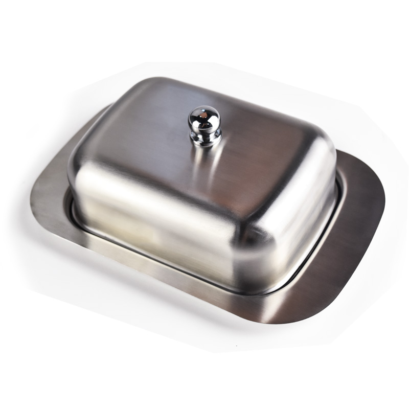 WOWCC 1pc Stainless Steel Butter Dish Box Container Cheese Server Storage Keeper Tray With Hold Lid Fruit Salad Cheese Dish