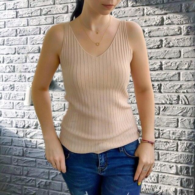 GOPLUS Spring Sleeveless V Neck Sexy Knitted Tank Top Women Fashion Cotton Elastic Camis Female Vest