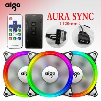 AIGO C3 C5 RGB ventilador refrigerador 120 milímetros fã 12 v para caixa do computador Remoto IR Multicolor Controlável Fãs Mais Frias frete grátis