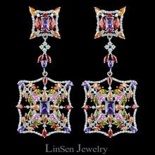 Новое поступление Colorful Day (Красочный День) 72 мм модные роскошные высококачественные  увеличенные большие длинные разноцветные циркоовые серьги  для свадьбы / вечеринки / подарка