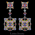Colorful Day New arrival 72mm fashion high quality exaggerated long big earrings for women,AAA zircon luxury earrings jewelry