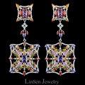 Colorido Día de la Nueva llegada 72mm manera de la alta calidad exagerada larga grandes pendientes para las mujeres, circón AAA pendientes de lujo joyería