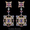 Dia Nova chegada colorido 72mm moda de alta qualidade exagerada longos brincos grandes para as mulheres, AAA zircão brincos de luxo jóias