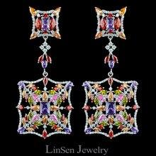 Dia colorido nova chegada 72mm moda de alta qualidade exagerada longo grandes brincos para as mulheres, aaa zircon brincos luxo jóias