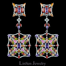 Đầy màu sắc Ngày Mới đến 72 mét thời trang chất lượng cao phóng đại bông tai dài lớn đối với phụ nữ, AAA zircon sang trọng bông tai đồ trang sức