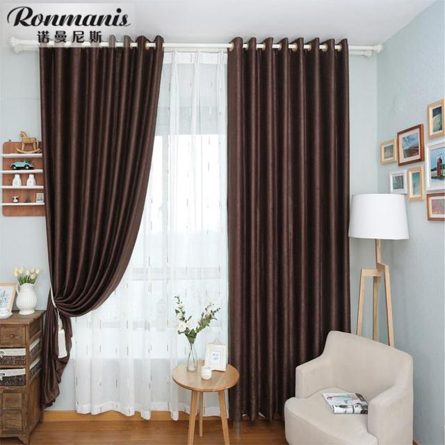 Stylish Simplicity Of Pure Brown Curtains Living Room Bedroom Den Finished  Curtains For Living Room Window
