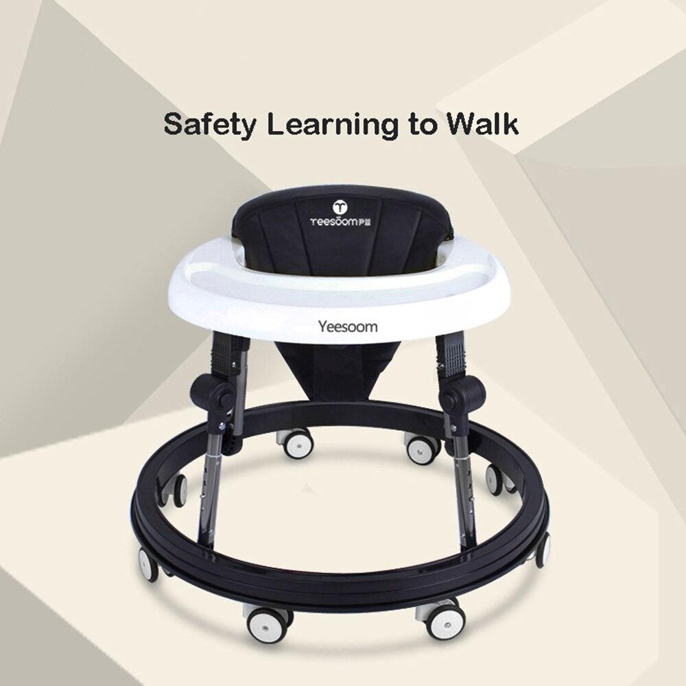 Trotteur bébé marcheur à 8 roues noir et blanc trotteur poussette 6-18 mois Assistant marcheur