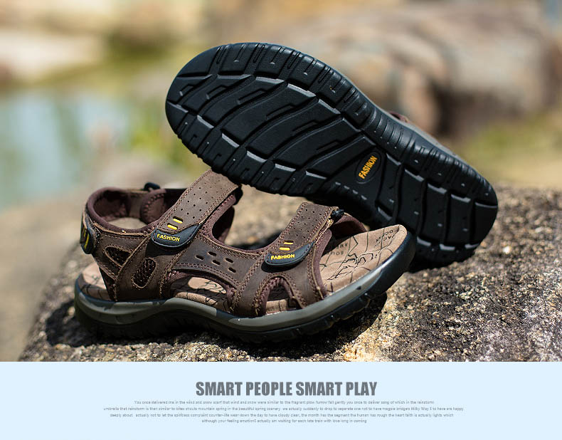 Hot Sale New Fashion Summer Leisure Beach Men Shoes High Quality Leather Sandals The Big Yards Men\`s Sandals Size 38-45 (26)