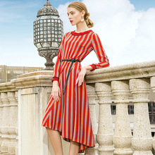 O-neck striped long sleeve a line party dress 2018 new women autumn