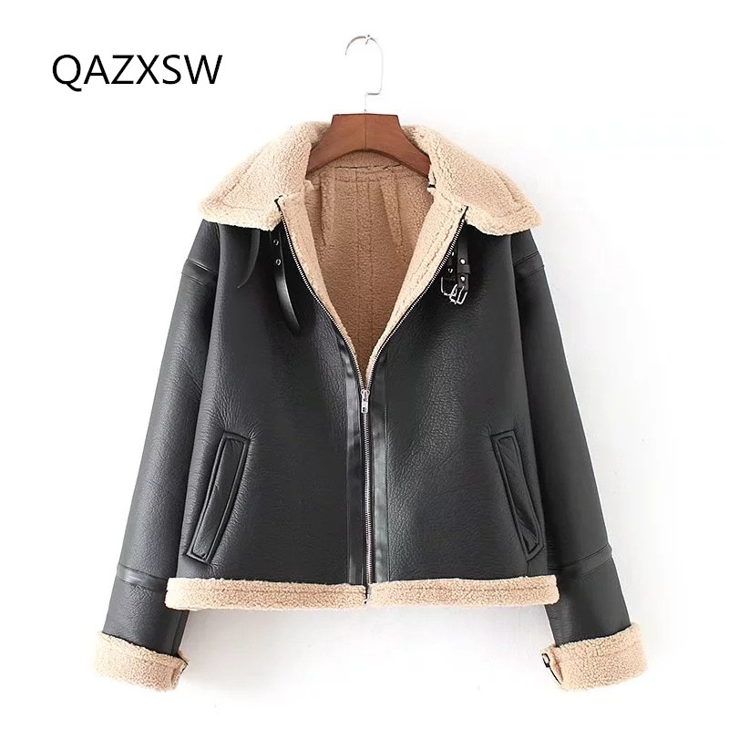 2018 New Women's Winter Leather Jacket Short Fur Outer Lambskin Thick Warm Coat Tq085