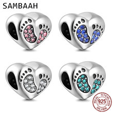 Sambaah Baby Footprint Heart Charm with Austrian Crystal 925 Sterling Silver Foot Print Beads fit Pandora Family Bracelet