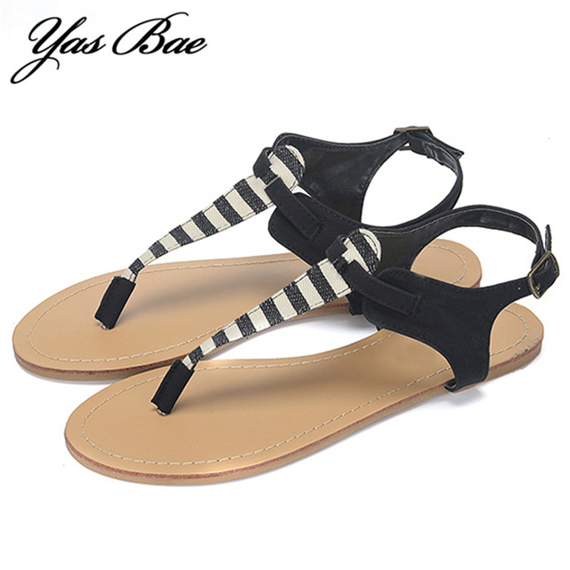 Women Sandal Strappy Cross Over Flat Shoes Flip Flop Beach Casual Rome Gladiator