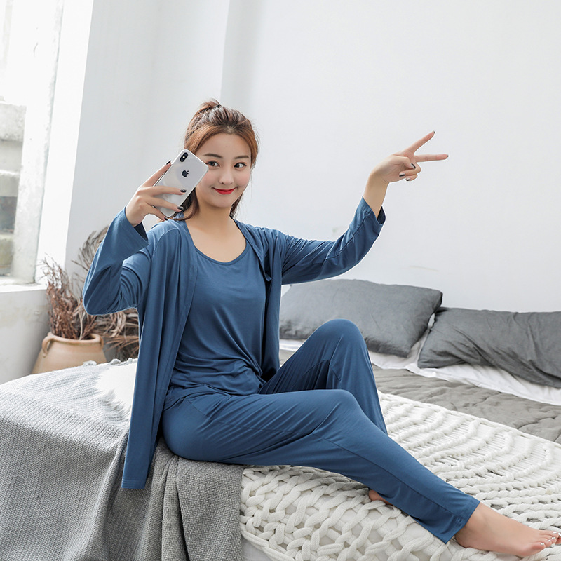 3pcs Pijama Cotton Modal Sexy Lingerie robe pants   Pajamas     Sets   Spring Autumn Simple Sleepwear Korean Nightwear Women Pyjama