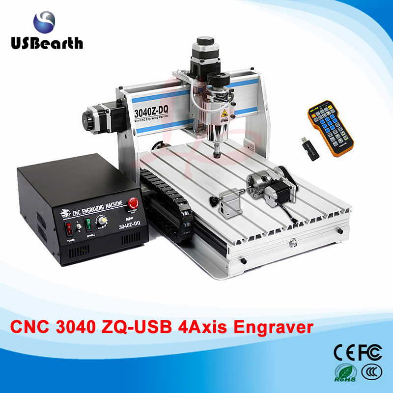 300w spindle woodworking lathe 3040ZQ-USB mach3 remote control cnc milling machine , free tax to Russia