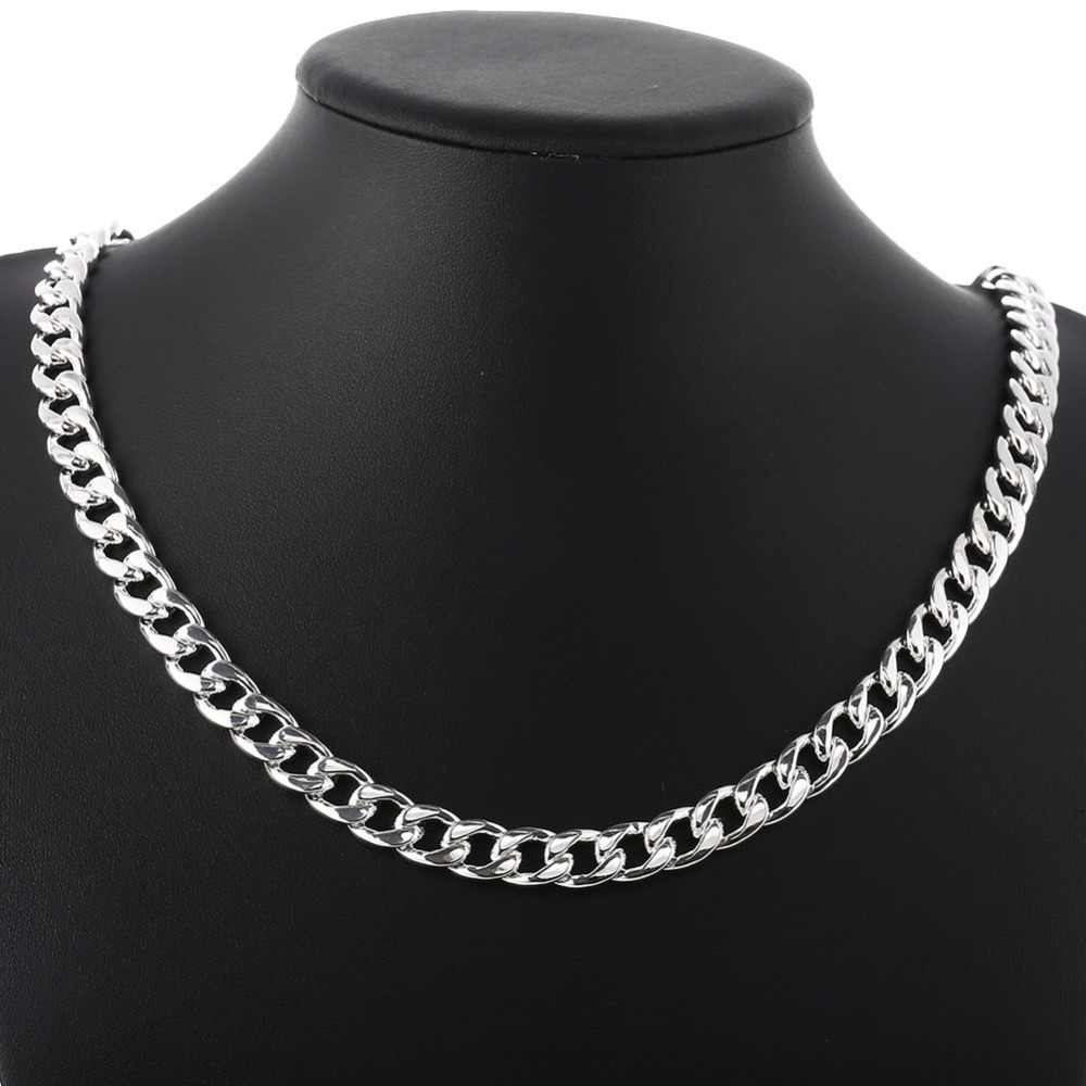 Wysokiej jakości klasyczne 10MM mężczyźni naszyjnik ze srebra próby 925 łańcuch Figaro łańcuszki na szyję naszyjniki dla mężczyzn 50 cm/60 cm