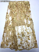 DPN373 Beaded Wedding Lace Fabric Gold African Tulle Lace Fabric High Quality 2017 French Net Lace