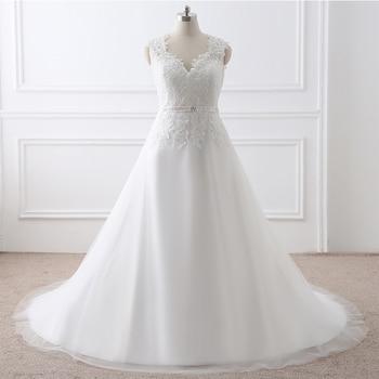 Cheap Plus Size Wedding Dresses In Stock Real Photo Lace Appliques A-line Appliques Deaded Sashes Vestidos De Novia Bridal Gowns