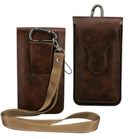 2 Layer Plug In Waist Bag Leather Case Holster With Belt Loop Carabiner For IPhone 6