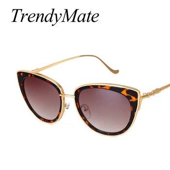 TrendyMate Retro Sexy Cat Eye Women Sunglasses Female Metal Frame Sunglasses Brand Designer Alloy Legs Glasses Oculos De Sol 711 5
