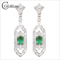 CoLife Jewelry Fashion Emerald Drop Earrings for Party 4mm*5mm Natural SI Grade Emerald 925 Silver Emerald Jewerlry Girl Gift