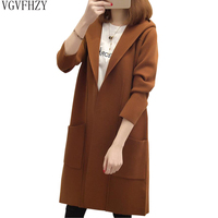 2018 Womens Cardigan Knitted Long Sleeve Cardigan Female Sweater Outerwear Autumn Winter Knitted Hooded Long Cardigan Sweater