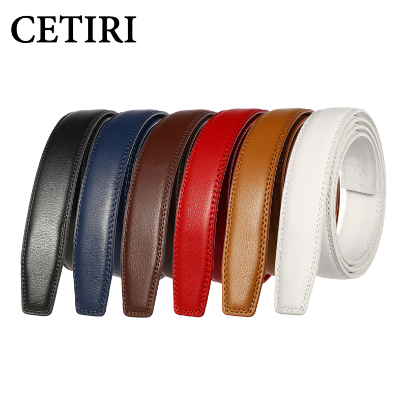 3.0CM 3.1CM Mens Solid Leather Belts Without Buckles High Quality Genuine Cow Leather Belt Man Without Buckle Automatic