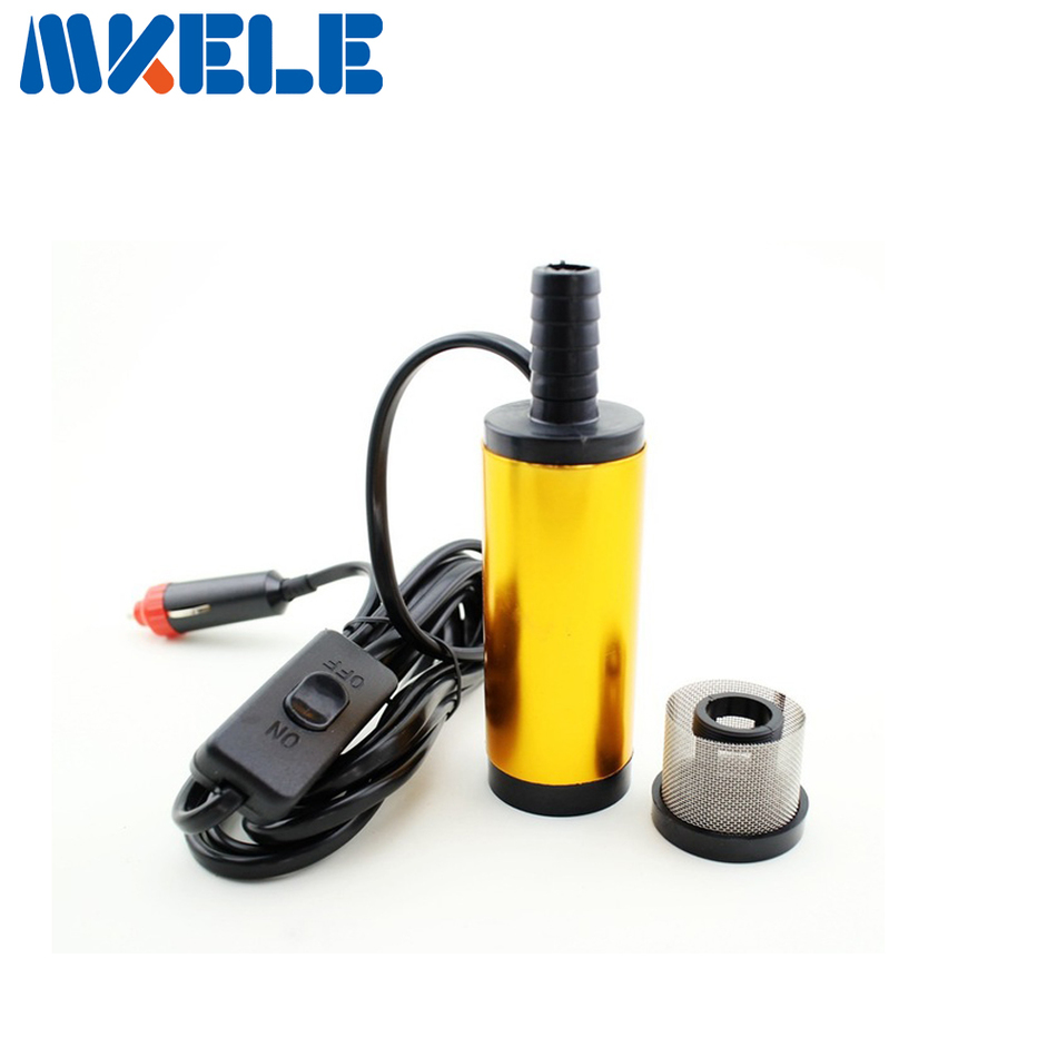 Mini 12V Diameter 38MM Water Oil Camping Diesel Transfer Pump Oil Pump Aluminium Alloy Belt Filter Net With Automobile Adapter