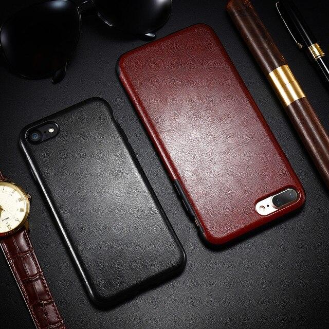 2a061c504cc Para iPhone 7 8 Plus X XS X Max caso de lujo liso negro de cuero de negocios  de silicona funda ...