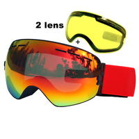 Double Lens Ski Goggles Anti fog UV400 Spherical Ski Glasses Skiing Snow Snowboard Goggles Ski Eyewear Brightening Lens