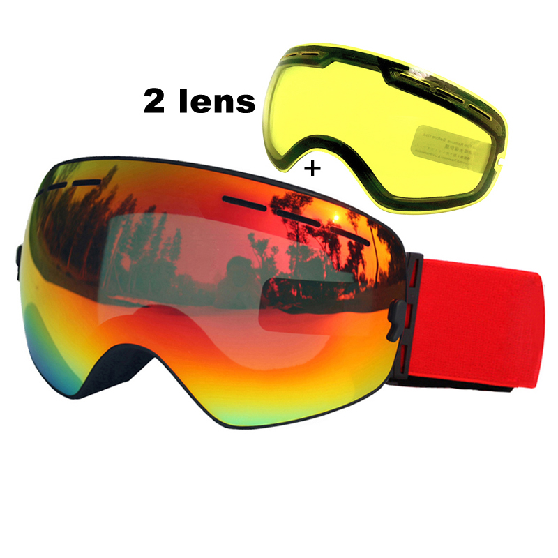 7146beb3a9adb4 Double Lentille Ski Lunettes Anti-brouillard UV400 Sphérique Ski Lunettes  Ski Neige Snowboard Lunettes Ski Lunettes Éclaircissant Lentille