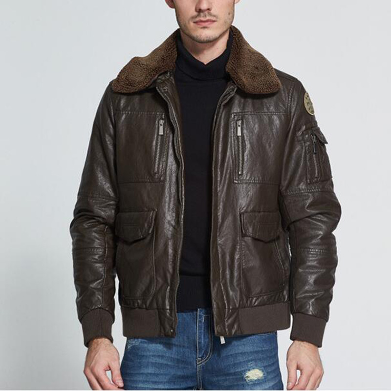 Air Force Retro Vintage Classic Winter Quilted Flight Pilot Leather Jacket Men Bomber Coat With Fur Collar Dark Brown