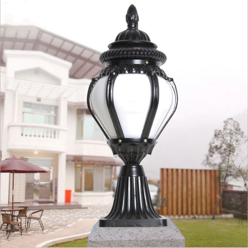 IP44 Europe Outdoor Pillar Lights Fence Garden Post Lantern School Yard Column Light E27 AC85-265v Decoration Chapiter Lamp Bra