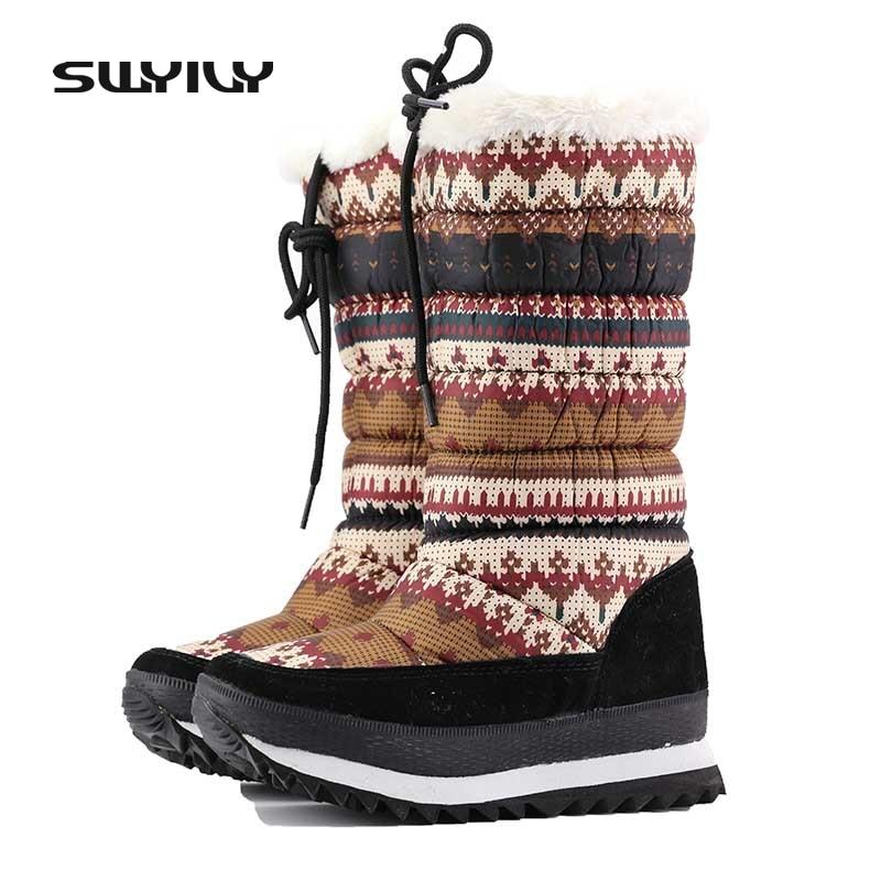 Snow Boots Woman Mid Calf Floral Fur Winter Warm Cotton Padded Shoes Slim Leg Print Snowboots