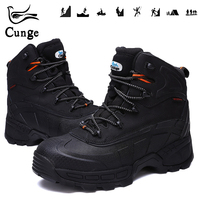Man's Safety Shoes for Steel Toe Hiking Boots Men Waterproof Work Protection Boots Anti Collision Hunting Shoes with Iron Sheet