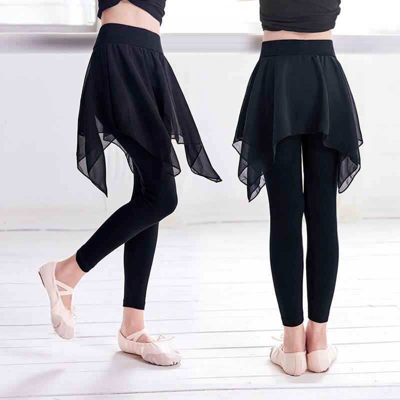 Yoga Pants Sports Gym Pants Girls Leggings Sport Women Fitness Clothing Running Pants Dance Trousers With Chiffon Skirts