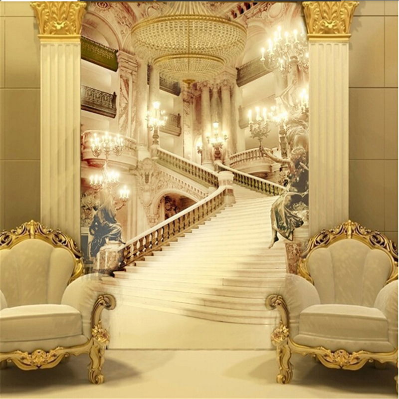 Beibehang 3d Murals Living Room Entrance Mural Wedding Photography Background Painting Background Palace Stairsl Photo Wallpaper